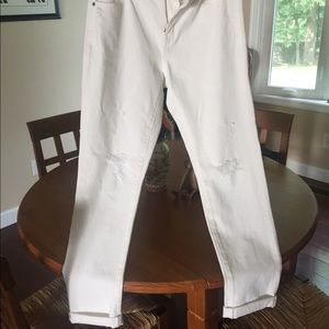 NWT J Crew Factory Slim Fit Distressed White Jeans
